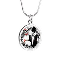 Skull Bride and Groom Silver Round Necklace