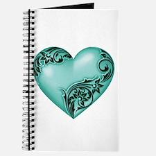 Heart Scroll Turquoise w Black Journal