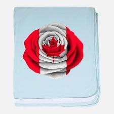Canadian Rose Flag baby blanket
