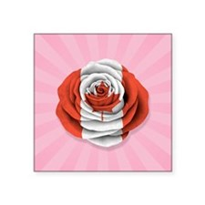 Canadian Rose Flag on Pink Sticker