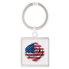 American Rose Flag on White Keychains