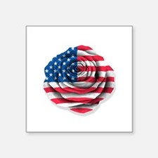 American Rose Flag on White Sticker