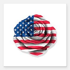 "American Rose Flag on White Square Car Magnet 3"" x"