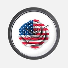 American Rose Flag on White Wall Clock
