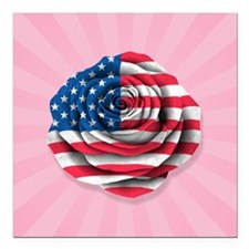 "American Rose Flag on Pink Square Car Magnet 3"" x"