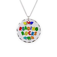 READING ROCKS Necklace Circle Charm
