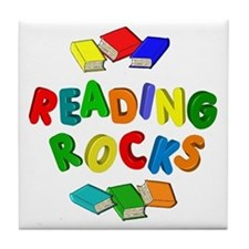 READING ROCKS Tile Coaster