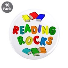 "READING ROCKS 3.5"" Button (10 pack)"