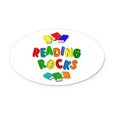 READING ROCKS Oval Car Magnet