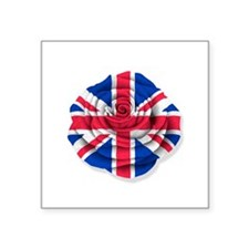 British Rose Flag on White Sticker