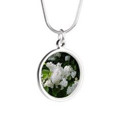 White Lilacs Silver Round Necklace