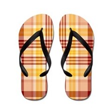 Bacon and Egg Plaid Flip Flops