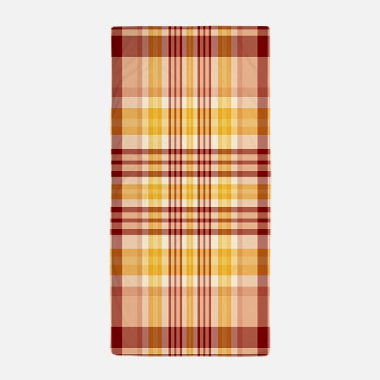 Bacon and Egg Plaid Beach Towel