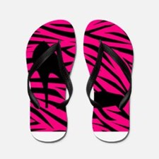 Black Heel on Pink Zebra Stripes Flip Flops