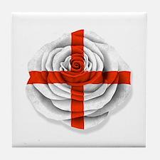 English Rose Flag on White Tile Coaster
