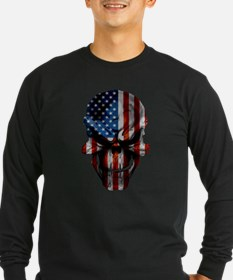 Patriotic American Flag Skull Long Sleeve T-Shirt