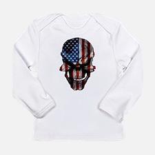 Patriotic American Flag Skull Long Sleeve T-Shirt