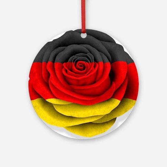 German Rose Flag on White Ornament (Round)