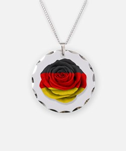 German Rose Flag on White Necklace