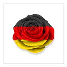 "German Rose Flag on White Square Car Magnet 3"" x 3"