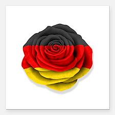 "German Rose Flag on White Square Car Magnet 3"" x 3"