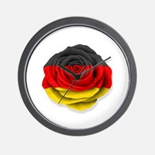 German Rose Flag on White Wall Clock