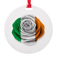 Irish Rose Flag on White Ornament