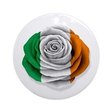 Irish Rose Flag on White Ornament (Round)
