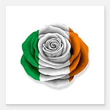 "Irish Rose Flag on White Square Car Magnet 3"" x 3"""