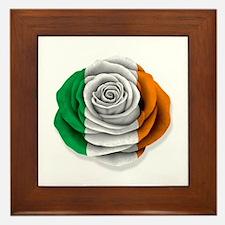 Irish Rose Flag on White Framed Tile
