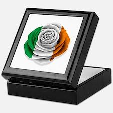 Irish Rose Flag on White Keepsake Box