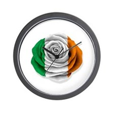 Irish Rose Flag on White Wall Clock
