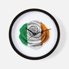 Irish Rose Flag on White Wall Clock