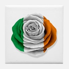 Irish Rose Flag on White Tile Coaster