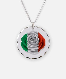 Italian Rose Flag on White Necklace