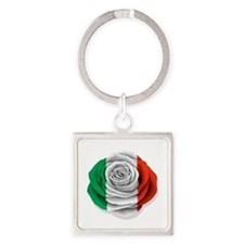 Italian Rose Flag on White Keychains