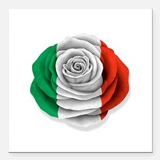 "Italian Rose Flag on White Square Car Magnet 3"" x"