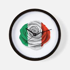 Italian Rose Flag on White Wall Clock