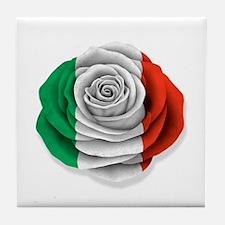 Italian Rose Flag on White Tile Coaster