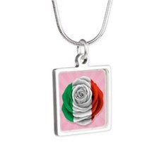 Italian Rose Flag on Pink Necklaces