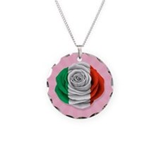 Italian Rose Flag on Pink Necklace