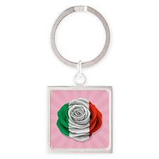 Italian Rose Flag on Pink Keychains