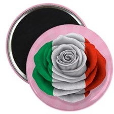 Italian Rose Flag on Pink Magnets