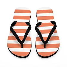 Coral Orange, Salmon, Wide Stripes Flip Flops