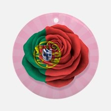 Portuguese Rose Flag on Pink Ornament (Round)