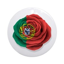 Portuguese Rose Flag on White Ornament (Round)