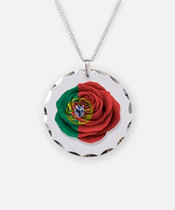 Portuguese Rose Flag on White Necklace