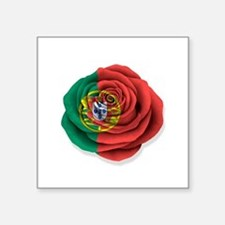 Portuguese Rose Flag on White Sticker