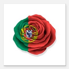 "Portuguese Rose Flag on White Square Car Magnet 3"""