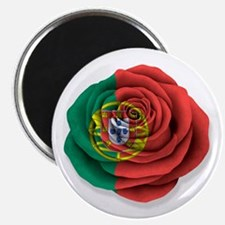 Portuguese Rose Flag on White Magnets